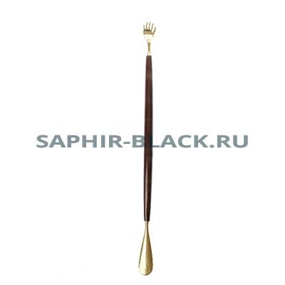 Рожок д/обуви Saphir, РУКА, Латунь + Дерево, 60см.